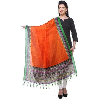 Varanga  greenorange Printed Bhagalpuri Silk Dupatta BG083