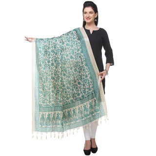 Varanga  beigegreen Printed Bhagalpuri Silk Dupatta BG084