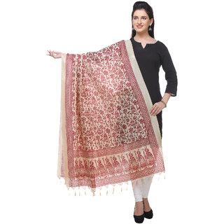 Varanga  beigemaroon Printed Bhagalpuri Silk Dupatta BG086