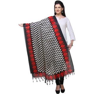 Varanga  redblack Printed Bhagalpuri Silk Dupatta BG117