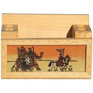 Sandy Handicrafts Paradise Compartments Wooden Pen Holder
