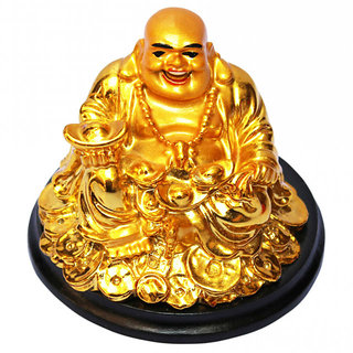 Sitting Feng Shui Laughing Buddha  Happiness and Wealth gold ignot, Gift Item