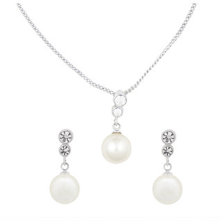 Shining Jewel Rhodium Pearl Nceklace Set (SJ_2057)