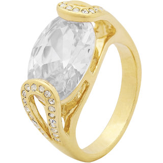 Shining Jewel Oval Zirconia Gold Finger Ring (SJ_4003)