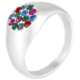 Shining Jewel Rhodium Mulitcolor Round Finger Ring (SJ_4034)