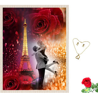 meSleep Multi Color Valentine Couple Canvas (14x18) With Free Artificial Rose  Pendant Set
