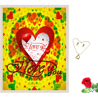 meSleep I Love You Valentine Canvas (14x18) With Free Artificial Rose  Pendant Set