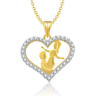 Jewelscart Gold Plated Cz Couple Heart Pendant With Chain