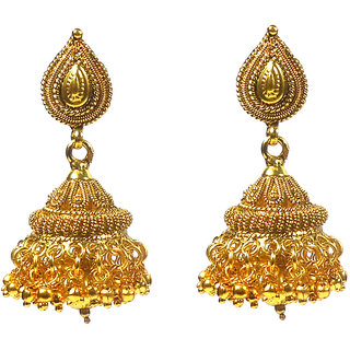 Rejewel Antique Gold Plated Jhumkas