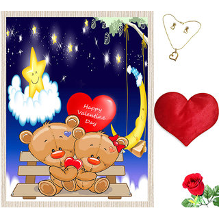 meSleep Happy Valentine Day Canvas (14x18) With Free Heart Shaped Filled Cushion and Artificial Rose and Pendant Set
