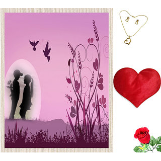 meSleep Pink Valentine Couple Canvas (14x18) With Free Heart Shaped Filled Cushion and Artificial Rose and Pendant Set