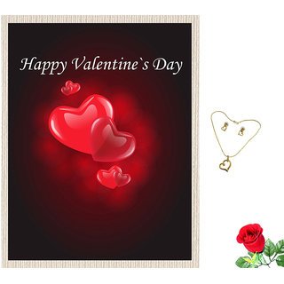 meSleep Happy Valentine Day Red Canvas (14x18) With Free Artificial Rose  Pendant Set