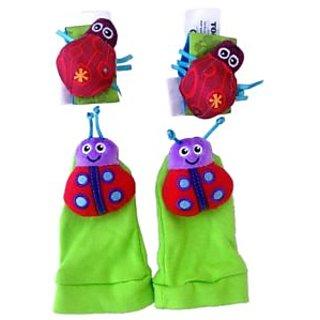 baby rattle toys Garden Bug Wrist Rattle+Foot Socks-AELKCP014-A