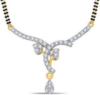 Silver Dew 92.5 Sterling Silver 18K Gold Plated Tanmaniya in CZ Stone JHT0009