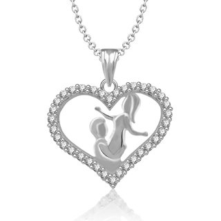 Jewelscart Rhodium Plated Cz Couple Heart Pendant With Chain