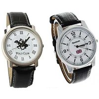 Polo Club Round Dial Black Leather Strap Mens Quartz Watch