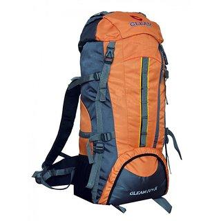 Gleam Mountain Rucksack/Hiking/trekking bag/75Ltrs Orange Grey with Rain Cover