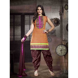 Vogue Cotton made Printed Embroidered Patiala Salwar Suit
