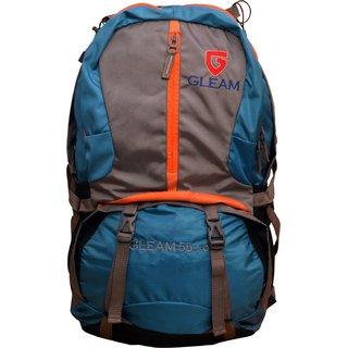 Gleam Mountain Rucksack/Hiking/trekking bag 75Ltrs SkyBlue Grey with Rain Cover