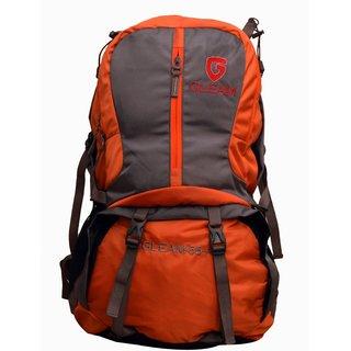 Gleam Mountain Rucksack/Hiking/trekking bag/60Ltrs Orange Grey with Rain Cover