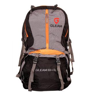 Gleam Mountain Rucksack/Hiking/trekking bag 60Ltrs Black Grey with Rain Cover