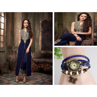 Festival Combo Offer Of Dark Blue Butta Salwar Suit And Dark Blue Watch For Wome