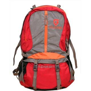 Gleam Mountain Rucksack/Hiking/trekking bag/60Ltrs Red Grey with Rain Cover