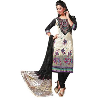 Triveni Classy Beige Colored Printed Blended Cotton Salwar Kameez (Unstitched)