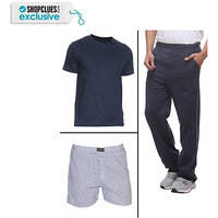 Purys Mens Blue Cotton Blend Trackpant
