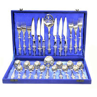 Lacuzini26pcs OVAL Satin Finish Cutlery Set In Velvet Box