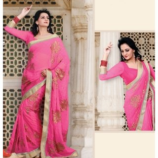Pari Fashion Multicolor Georgette Self Design Saree With Blouse