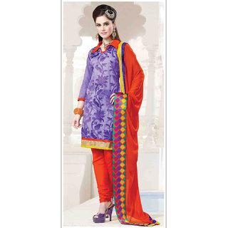 A Chanderi Cotton Purple Top With Contrast Orange Bottom With Chiffon Dupatta