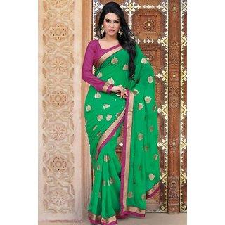 Pari Fashion Multicolor Georgette Self Design Saree With Blouse