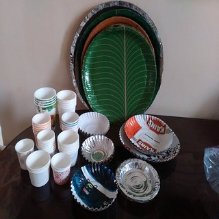 Disposable Party kit (Paper cup+Paper plates+spoons+tissue paper for 75 & Buy Disposable Party kit (Paper cup+Paper plates+spoons+tissue paper ...