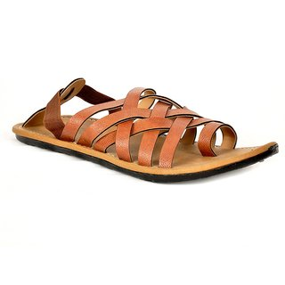 Flute Brown Synthetic Leather Sandals For Men
