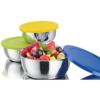 Lovato Life Stainless Steel Bowl Set (Multicolor Pack of 3)