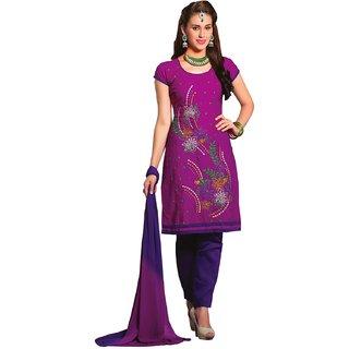 Triveni Beautiful Purple Colored Embroidered Blended Cotton Salwar Kameez (Unstitched)