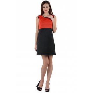 Klick2Style Black And Red Plain A Line Dress For Women