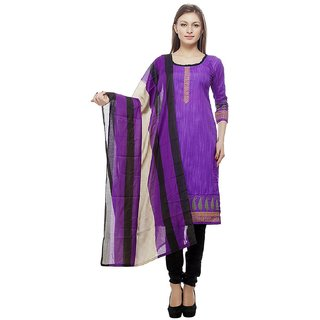 Shiv Kunj Womens Purple Cotton Salwar Suit Dress Material