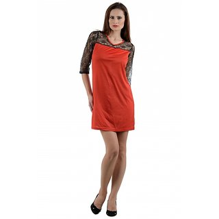 Klick2Style Red Plain A Line Dress For Women