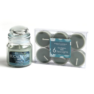 Hosley Eucalyptus Mint Highly Fragranced Jar Candle With Pack Of 6 Scented Tealights