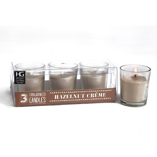 Set Of 3 Hosley Highly Fragranced Hazelnut Creme Filled Glass Candles