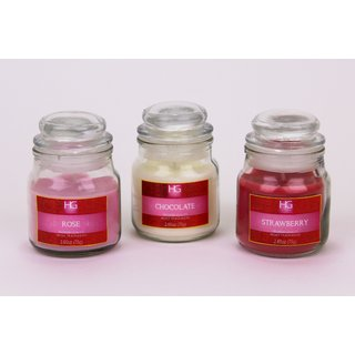 Hosley Set Of 3 Highly Fragranced 2.65Oz Jar Candles