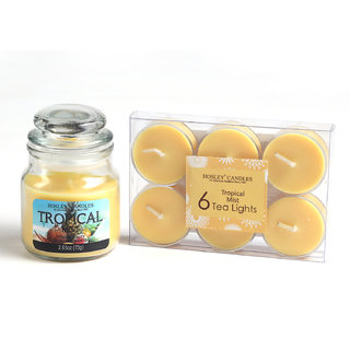 Hosley Tropical Mist Highly Fragranced Jar Candle Withpack Of 6 Scented Tealights