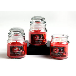 Set Of 3 Hosley Apple Cinnamon Highly Fragranced Jar Candles