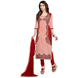 Triveni Astounding Peach Colored Embroidered Blended Cotton Salwar Kameez (Unstitched)