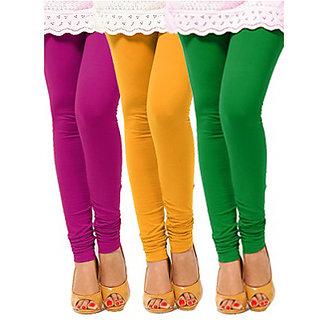 Pack of 3 Leggings - Purple, Yellow n Green