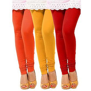 Pack of 3 Leggings - Orange, Yellow n Red