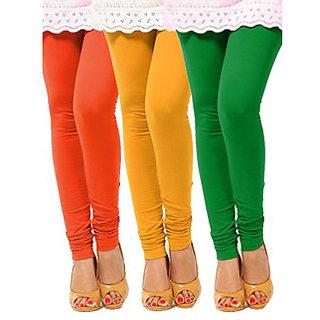 Pack of 3 Leggings - Orange, Yellow n Green