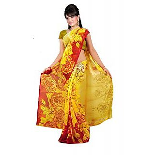 Shopeezo Daily Wear Multicolor Color Chiffon Saree